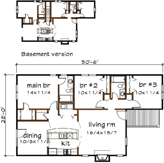 Farmhouse Style House Plan - 3 Beds 2 Baths 1214 Sq/Ft Plan #79-161 Main Floor Plan - Houseplans.com
