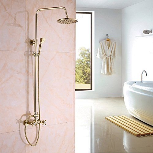Rozin Gold Polished Rainfall Shower Mixer Faucet Set With Https Www Amazon Com Dp B00lq Bathroom Shower Faucets Shower Faucet Sets Shower Faucet