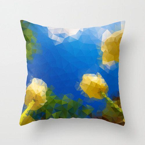 Decorative pillow Blue Pillow Decor geometric pillow by NikaLim