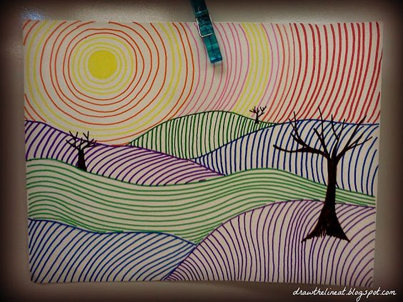 Draw The Line - Line Landscapes (experimenting with different lines) - could do this with pastels, charcoal, paint etc