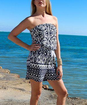Loving this La Moda Clothing Blue & White Ikat Strapless Romper on #zulily! #zulilyfinds