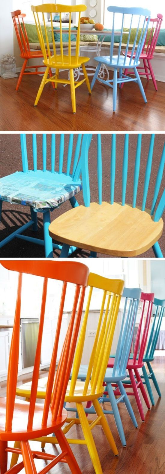 Spray Painting Wood Chairs   DIY Home Decorating on a Budget   DIY Projects for the Home Dollar Store