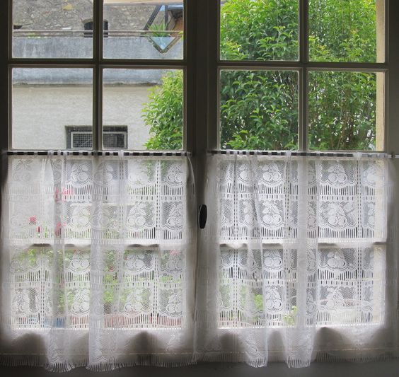 Pair vintage french lace curtains, cafe curtains, panels, nets ...