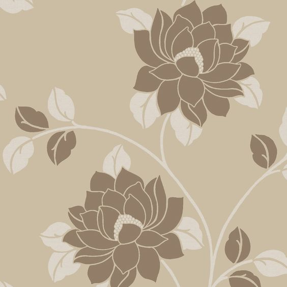 Statement lola beige brown floral wallpaper diy and crafts floral and wallpapers - Cream flock wallpaper ...