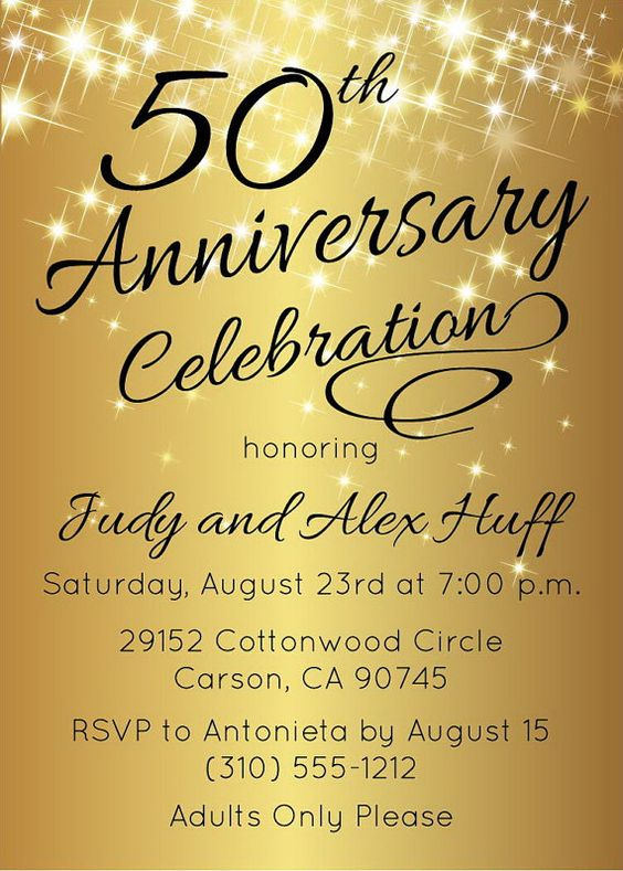50th anniversary invitations, Anniversary invitations and ...