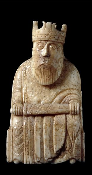 The King, The Lewis Chessmen, probably made in Scandinavia, about AD 1150-1200, found on the Isle of Lewis, Outer Hebrides, Scotland.: