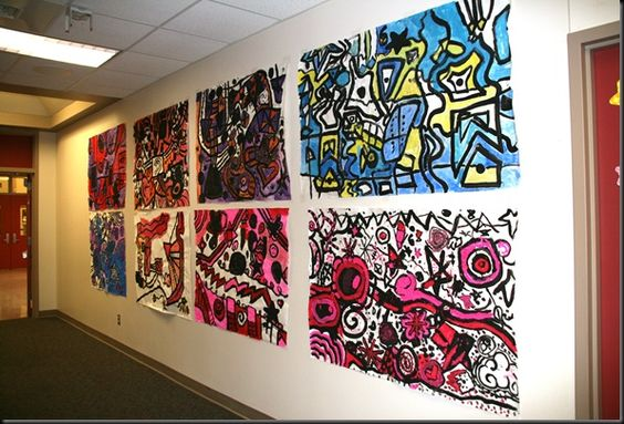 Hip-Hop Kandinsky murals: fun mash-up! 5th grade