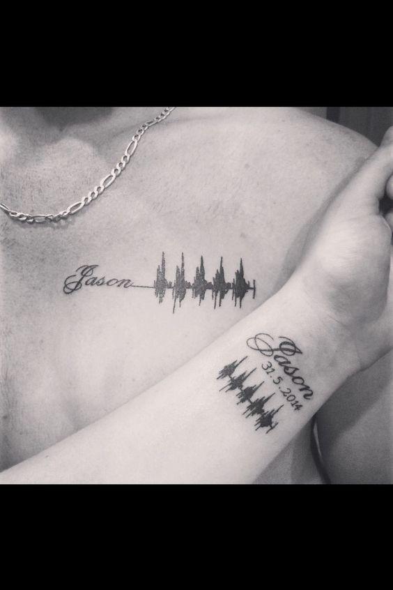 Cute first born heartbeat tattoo!