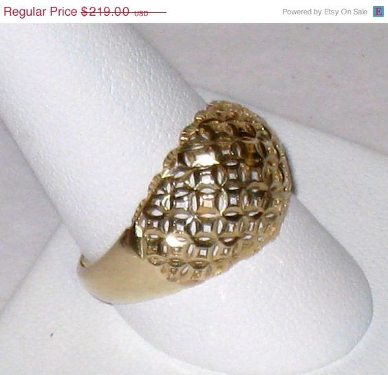 On SALE 14K Gold Diamond Cut Pierced Dome Ring by CookieGrandma60  #teamsellit