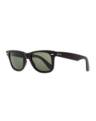 Classic Wayfarer Sunglasses, Black/Green Lens by Ray-Ban at Neiman Marcus.