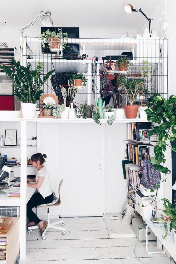 Je vous en parlais déjà la semaine dernière, je suis absolument gaga de plantes et bien je vous propose aujourd'hui d'aller faire un tour dans un studio/bureau plein de plantes. Dans ce magnifique bureau, les plantes purifient l'air et rendent l'espace de travail beaucoup plus «habitable», on s'y sent bien et on a envie d'y travailler, non? Allez, je vous souhaite un bon courage pour ce lundi. Source