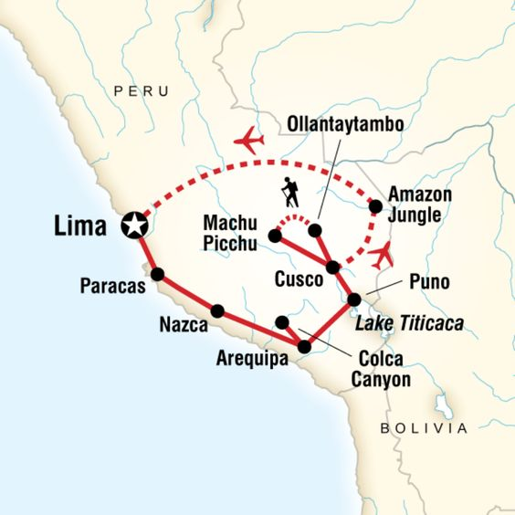 Map of the route for Absolute Peru