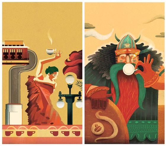 Café, café. Del que gusta tomar y ver. Packaging - Coffee Illustration Labels by Charlie Davis, via Behance