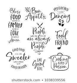 Kitchen Food Cooking Related Quotes Set Inspirational Typography For Home Decor Cafe Restaurant Vector Vintage Il In 2020 Cooking Quotes Recipe Book Picture Quotes