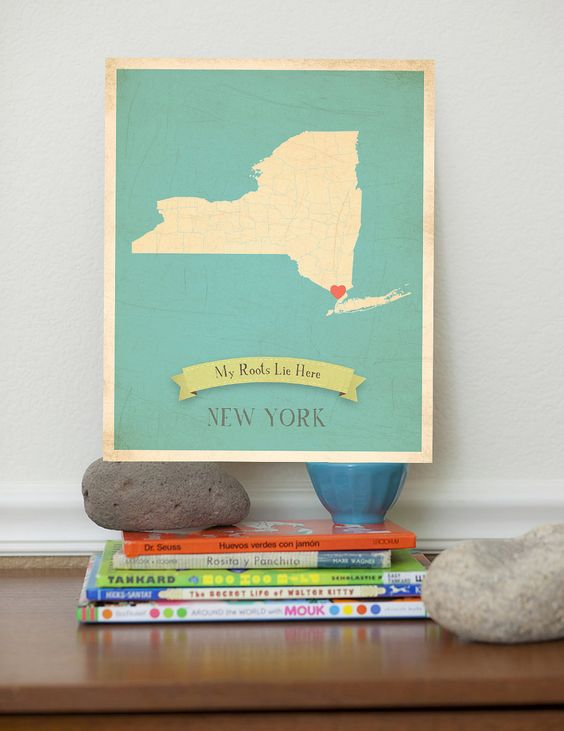New York Roots Map 11x14 Customized Print.