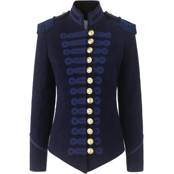 Pinky Laing Navy Velvet Military Jacket (€885) ❤ liked on Polyvore featuring outerwear, jackets, tops, coats, blazers, military jacket, field jacket, navy velvet blazer, blue blazer jacket and navy blue jacket