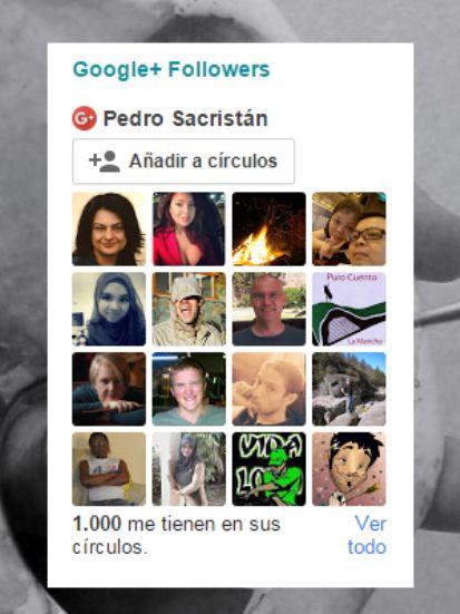 Hoy he alcanzado los 1000 seguidores en Google+ https://plus.google.com/+PedroSacristán