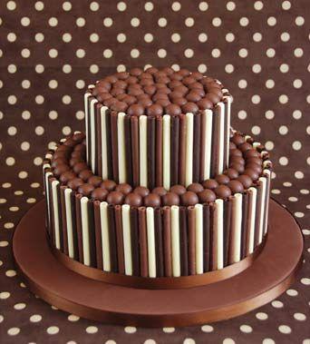 'Chocolate Trio' birthday cake : Chocolate fudge cake, Amedei Chuao chocolate buttercream, chocolate curls, Satab trim.