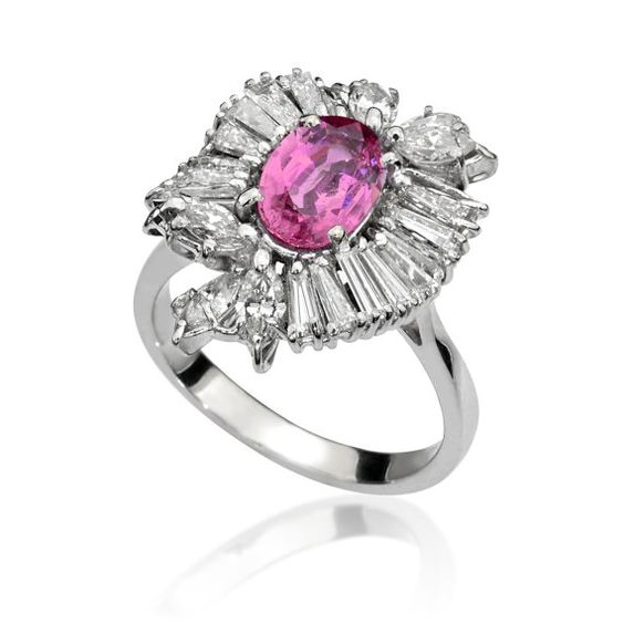 Diamond and Sapphire Estate Ballerina Ring Unique by YanivJewelry