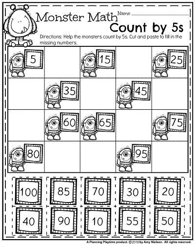 First Grade Math Worksheet For October Monster Math Count By 5s First Grade Math Worksheets First Grade Worksheets 1st Grade Math Worksheets