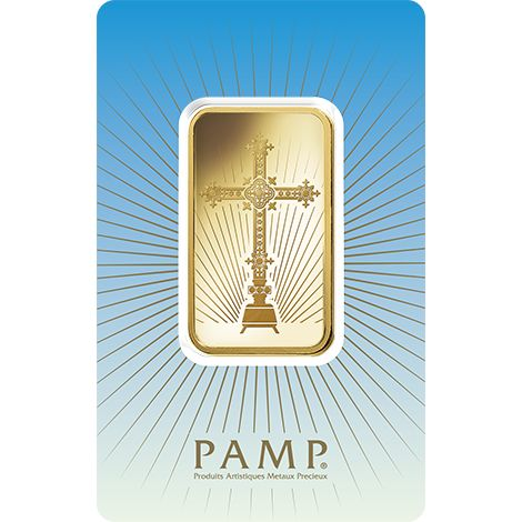 New PAMP 'Faith' Romanesque Cross 1oz Gold Bar Each bar weighs 1oz of 999.9 Fine Gold. Each gold bar comes packed in an assay card certifying the weight & gold metal purity. Manufactured by Pamp Suisse, the world's leading independent Precious Metals refiner.  This Romanesque Cross 1 ounce silver bar celebrates the Christian faith.