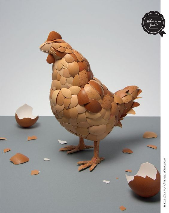 What Came First the Chicken or the Egg - Kyle Bean, EIGA Design via yatzer : from the book EAT, Design with Food #Chicken #Eggshell_Chicken #EAT_Design_with_Food #Kyle_Bean #EIGA_Design