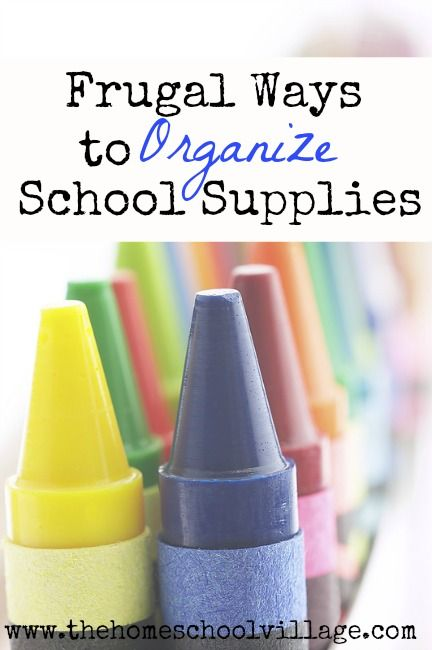 Frugal Ways to Organize School Supplies | The Homeschool Village: School Supplies Organization, Frugal Ways, Homeschool Room, Organize School Supplies, Frugal Homeschooling, Frugal Supplies, Homeschool Craft Organization, Homeschool Organization