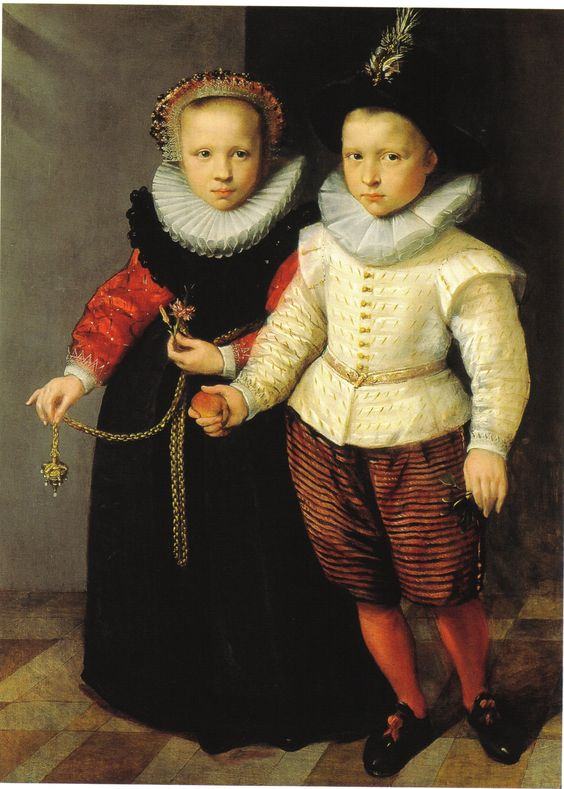Children were dressed as mini-adults; portrait of children circa 1600. By an anonymous artist.: