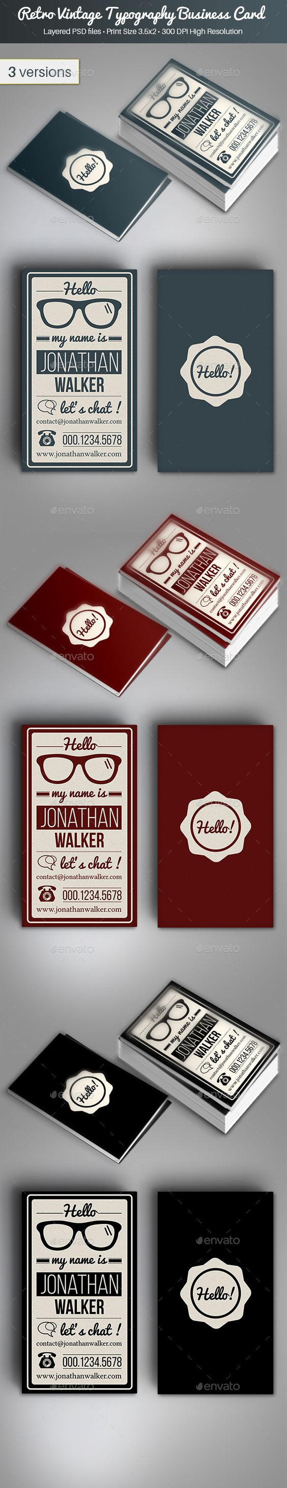 Retro Vintage Typography Business Card Template PSD | Buy and Download: graphicriver.net/... Free business card design http://www.plasticcardonline.com/