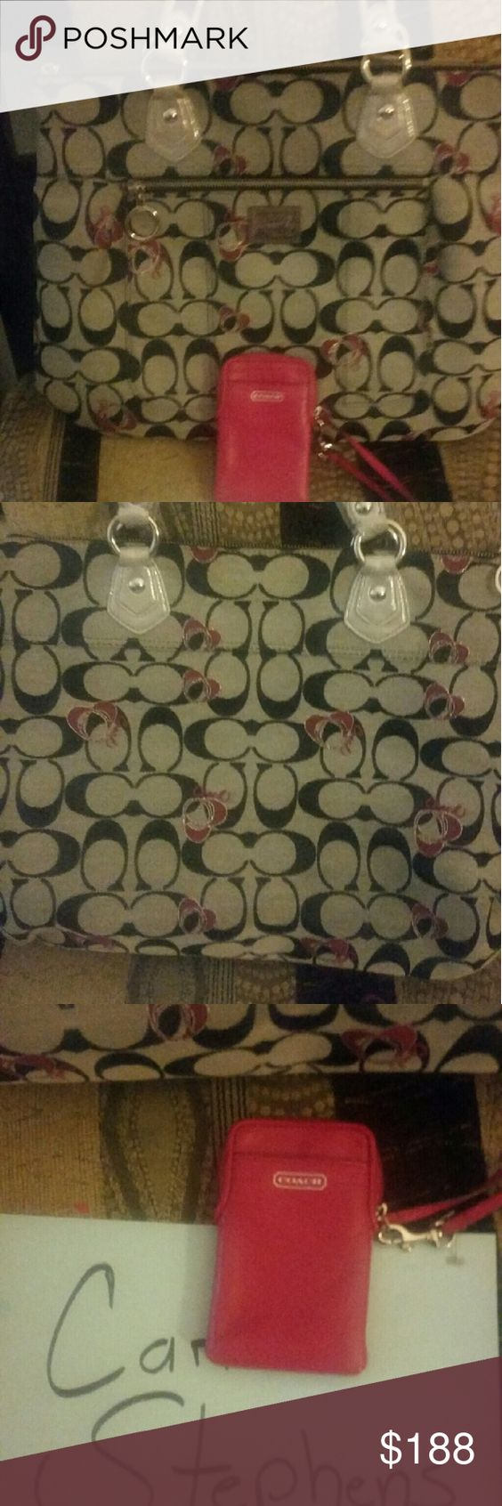 COACH POPPY SET plus free MK purse charm Euc coach poppy set in EUC like new large tote and small pink wristlet plus get a nwt MK lighting bolt purse charm with purchase, price is firm on here Bags Totes
