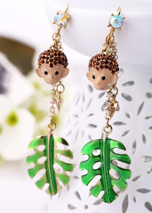 Spring Green Alloy Dangle Earrings  - New In