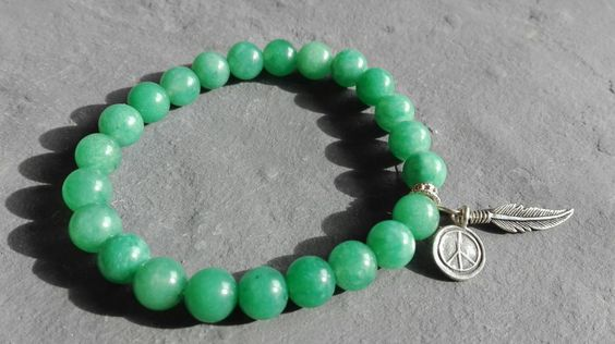 Aventurine bracelet, sterling silver peace and feather charm, healing bracelet, protection, chakra bracelet, healing crystals - pinned by pin4etsy.com