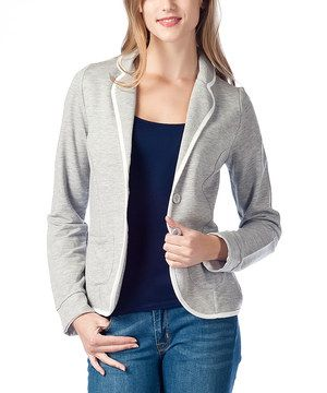 Love this Gray & White-Trim Blazer by Zeldam on #zulily! #zulilyfinds