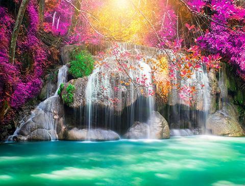 Kate Waterfall Purple Flower Mermaid Theme Backdrop Spring Scenery Waterfall Castle Backdrop