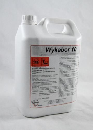WYKABOR 10 TIMBER TREATMENT FOR WOODWORM DRY/WET ROT 5L | eBay £30 delivered Active ingredients: Benzalkonium chloride, Disodium octaborate.