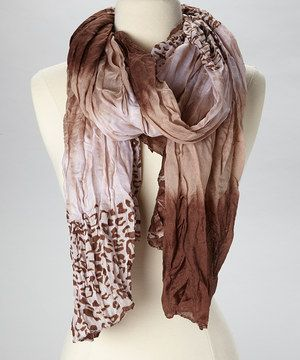 Look what I found on #zulily! The Accessory Collective Brown & White Animal Scarf by The Accessory Collective #zulilyfinds