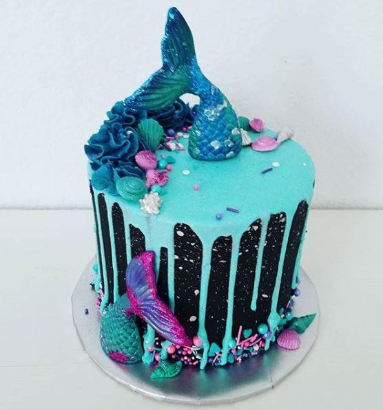 Phenomenal Mermaid Drip Cake Cake Mermaid Party Dallas Dfw Mckinneytx Birthday Cards Printable Giouspongecafe Filternl