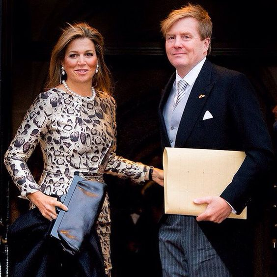14-01-2015 Queen Maxima and King Willem-Alexander at the New Years reception at the Royal palace in Amsterdam.