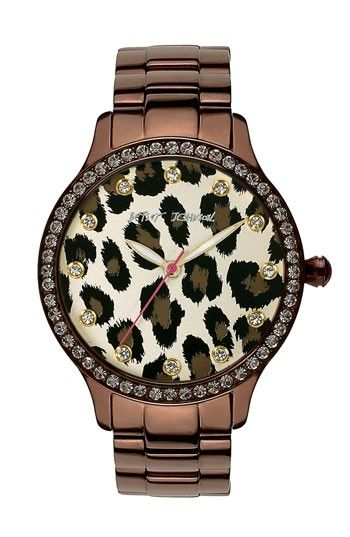 Betsey Johnson Leopard Print Dial Watch | Nordstrom - too cute! I like the bronze color.