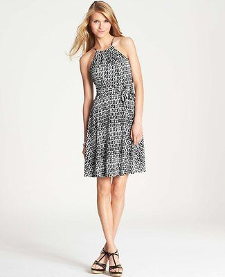 Woodcut Geo Print Halter Dress