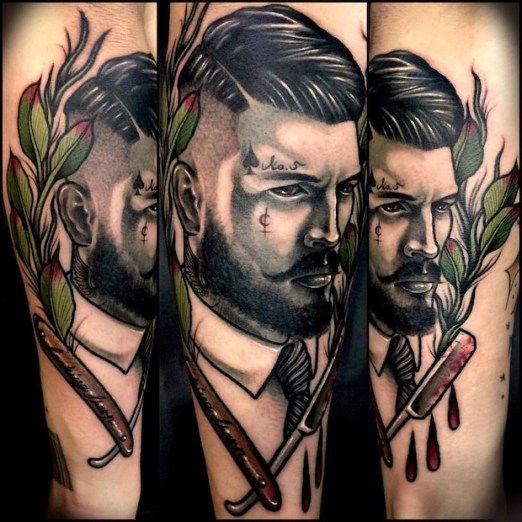 Tattoos for Barbers by Varo. #inked #inkedmag #tattoo #portrait #ink #barber #placement #idea