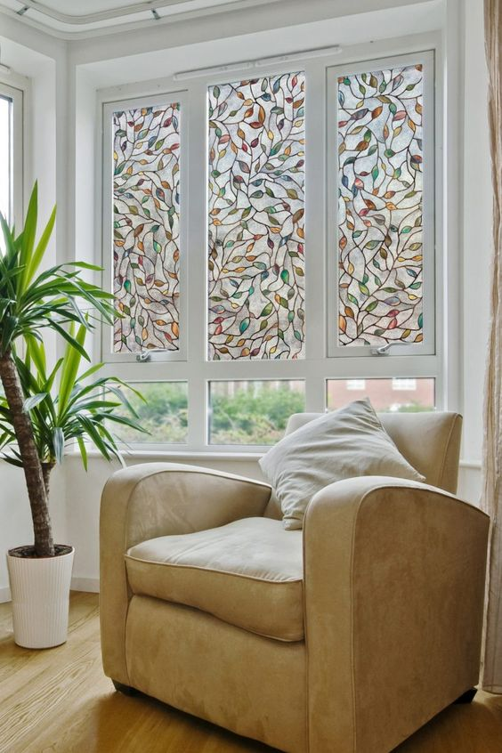 Interior : Faux Stained Glass Window Film With Sofa And Pillow Also Decorative Plants For Decoration In House Window Decorative Faux Stained Glass Window Film Clings. Tutorial. Make Clings.