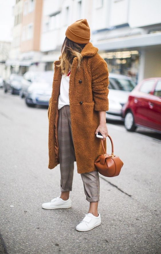 11 Casual Looks that Don't Require your Favorite Pair of Jeans: Plaid trousers and a teddy bear coat paired with sneakers is a cozy casual off duty look #casualwinteroutfit