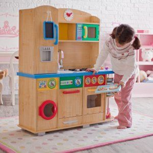 KidKraft Cook Together Play Kitchen - love that it's wooden & has a washing machine!!