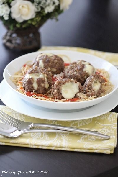 Mozzarella-stuffed meatballs!  Tried these on Sunday and they were AMAZING!  So easy!