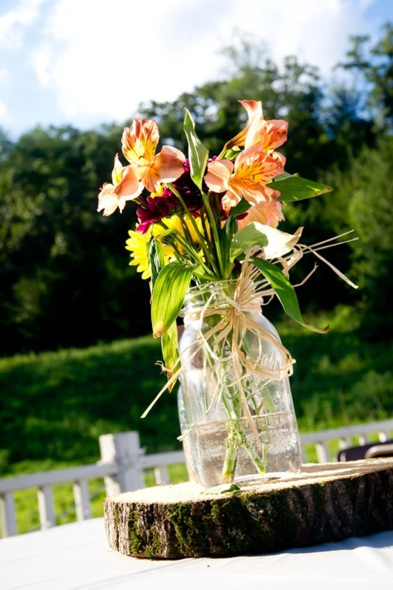 Jars mason jar flowers and wedding on pinterest