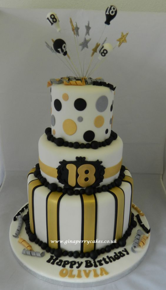 18th birthday cake gold silver black theme cakes for 18th birthday cake decoration ideas