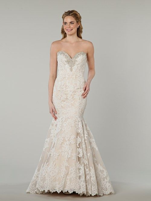 Danielle Caprese Sweetheart Fit and Flare in Lace | KleinfeldBridal.com
