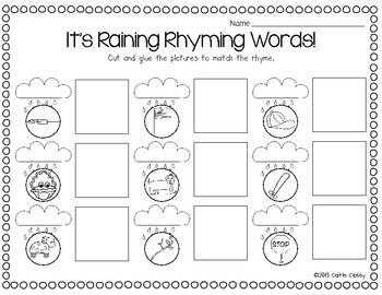 math worksheet : it s raining rhyming words and weather work freebies  kinderland  : Rhyming Cut And Paste Worksheets For Kindergarten