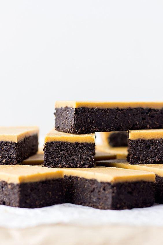 Chocolate peanut butter fudge bars (vegan and gluten free).: